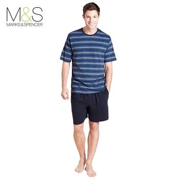 M&s marshy 100% cotton stripe lounge set male sleepwear t071916 299