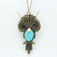 Free shipping 10pcs/lot fashion vintage accessories personalized vintage owl long necklace owl pendant