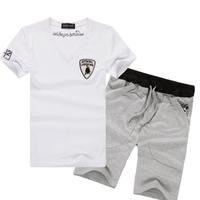 Free shipping 2014 New summer T shirt &pant set Male casual sports set short-sleeve T-shirt shorts summer fashion male tee wear