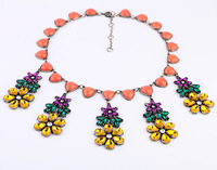 hot sale vintage flower rhinestone gem alloy  exaggerated statement choker big chunky luxury necklace 2013 free shipping