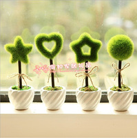 Small fresh heart star green ceramic vase decoration accessories