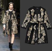 2013 New Runway Fashion Women Baroque Wool Overcoat Slim Hot Classical Golden Embroidery Luxury Woolen Long Coats Winter Outwear