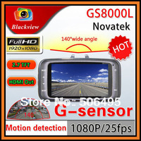 "Free Shipping GS8000L Novatek Chipset Car DVR 2.7"" LCD Full HD 1920*1080P G-Sensor HDMI 4 IR light Motion Detect Videl Recorder"