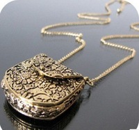 Free shipping 10pcs/lot fashion accessories fashion vintage exquisite carved metal bags necklace