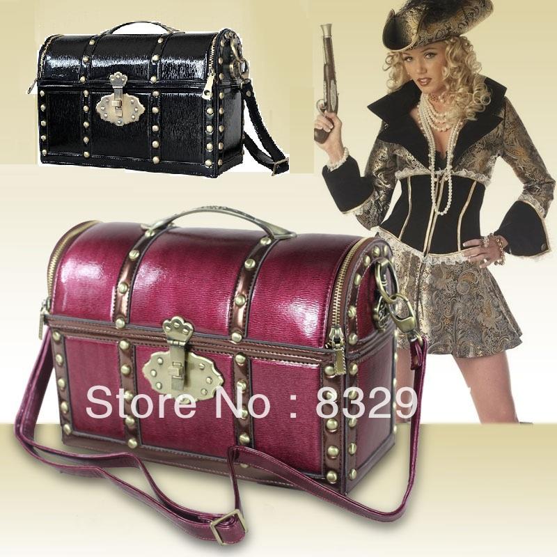 Free Shipping!New!Fashion Funny Stylish Gift Vintage Women Treasure Chest Tote Shoulder Messenger Cross-body Handbag BG06(China (Mainland))