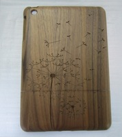 New design walnut wood protective cover for iPad mini - dandelion style - free shipping