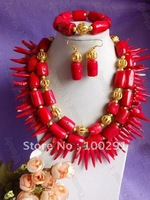 Free ship!# 106 drum and peper-shaped strand fashion african wedding bridal necklace bracelet and earrings coral jewelry set