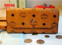 Free Shipping Women's Mc Coin Purses Wallets Clutch Bags Credit Card Holder Checkbook Holder Brown