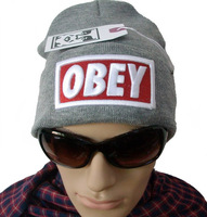 2013 Winter Knitted Acrylic Solid Color With Embroid Letter OBEY Cap Winter Skullies & Beanies Man And Woman Hats Free Shipping