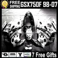 7gifts For Scorpion SUZUKI KATANA GSX750F GSXF 750 Black WHITE  1998 2007 1390 GSXF750 98 99 00 01 02 03 04 05 06 07 Fairing Kit