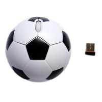 Hot White Basketball Football Soccer Shape 2.4G Wireless Optical Mouse+USB Receiver free shipping
