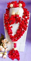 Amaing red coral jewelry set coral necklace bracelet earring set///Free ship