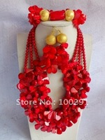 WWEL889Flower Red Coral Jewelry Set Women African Wedding Bridal Necklace bracelet earrings