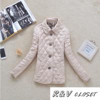 [RV Closet] 2014 women coat ladies spring  jacket classic plaid turn-down collar slim elegant thermal cotton-padded jacket Suit