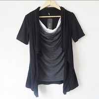 Non-mainstream men's clothing short-sleeve T-shirt personality costume faux two piece batwing shirt male long gown top