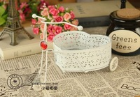 White iron bicycle flower basket props photography props photo props