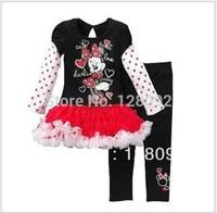 Wholesale Girls Cute Cartoon Minnie clothing set Baby girls New Fashion 2pcs set (dress+leggings) kids casual suit 5sets/lot