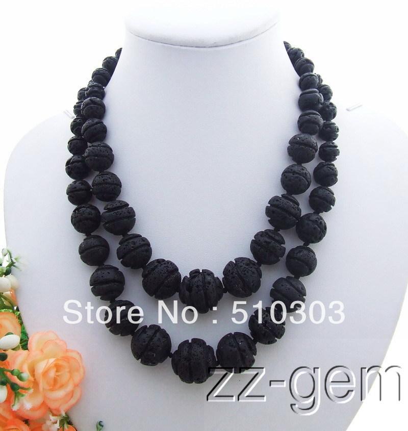 20mm Black Volcano Lava Necklace(China (Mainland))