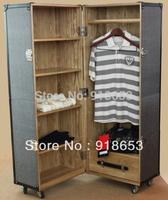 High-end PU leather garment display cabinet Wardrobe