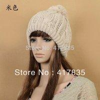 6 COLOUR 2014 Women Winter Hats Girls' Warm Wool Twist Knitted Hat Fashion Beanies For Women Flowers Cap Hot Selling