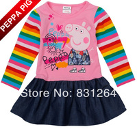 Free Shipping New Arrival  Nova Kids Todder Girl Ruffle Cotton Dress Embroidery Peppa Pig Long Sleeve Dress