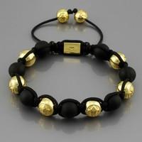 Authentic ! Hand-woven beaded Shamballa Black and Golden beads Bracelets Men Jewelry