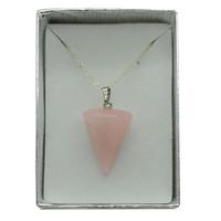 Natural 30X20MM 6 Side Cone Shape Rose Quartz Pendant& Pendulum