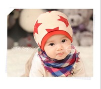1pc Autumn Section Baby Cap With Star Print & Double Cotton Children Hat Free Shipping For 3 Months-3 Year Old Kids CL0234