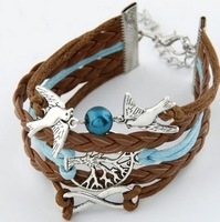 C098 Retro multi-layer weave pendant bracelet with free shipping! !