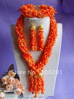 Free shipping!!!Women's Orange Color branch-shaped bead multistrand flower African Wedding Coral Jewelry Set