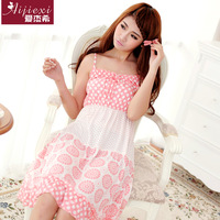 Sweet spaghetti strap nightgown cotton sleepwear lounge temptation princess sexy nightgown