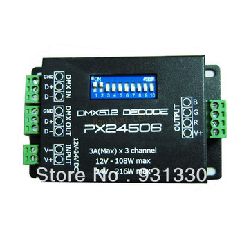 5pcs Free Shipping PX24506 DMX 512 Decoder Driver 9A DMX 512 Amplifier 12V 24V RGB LED Lights