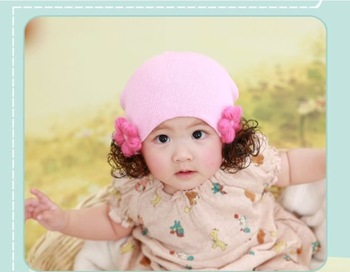 Free Shipping Flower Wig Knitted Cotton Cap  Baby Christmas Hat/Kids Cap/Skull Cap/Toddler Hats FS-MZ