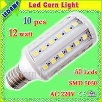 10 pcs/lot free Shipping 12W 5050 SMD 60 LED Corn Bulb Light E27 LED Lamp Nature White | Warm White ac 220v