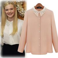New 2014 Fashion Autumn Elegant Laciness Lace Beading Chiffon Shirt Women's Long-sleeve  Beige White lace Blouses