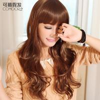Wig girls fashion long qi bangs curly hair fluffy repair egg rolls hair set