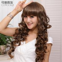 Women's wifing long curly hair fluffy bangs big wave oligomerization of fashion rolls repair