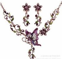 Hot sale graceful delicate butterfly flower necklace earring set