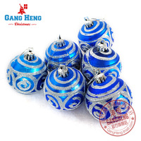 Free shipping Christmas tree decoration 6cm blue silver matt colored drawing quality ball 6 70g
