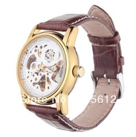 2013 Latest Mechanical Luxury Style Genuine leather Strap Mens Boys Wrist Watch DHL EMS FEDEX Free Shipping