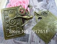 6pcs antique bronze bird clock alloy vintage charms bracelet necklace pendant diy phone cabochon jewelry findings accessories