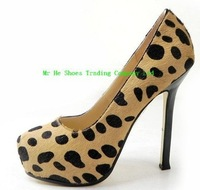 Free shipping fashion leopard 14CM girls high heels 2013 spring new arrive platform pumps wedding shoes woman