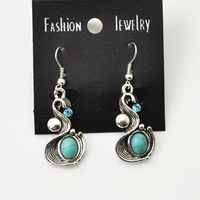 New vintage retro jewelry tibetan silver turquoise Irregular earring for women girl wholesale E935