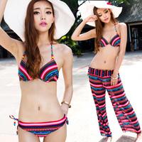 Swimwear female small push up bikini dress multiple set swimwear bikini 3 pieces