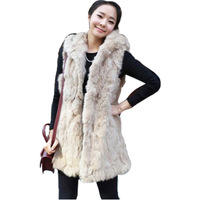 TOP730 free shipping Women Faux Rabbit Fur Vest Sleeveless Long Faux Fur Coat Hooded Fur Vest