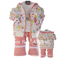 Spring and Autumn 2013 Girl's Set Rabit Hooded zipper coat+ White T-shirt +Pant 3 set lot ZY1002