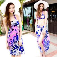 Hot spring swimwear female plus size skirt bikini small steel push up bra cup large 3 pieces set swimwear