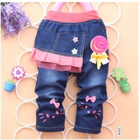 new,2013,free shipping,4pcs/1lot,children clothing,100% cotton denim girl jeans, flower pants,free shipping