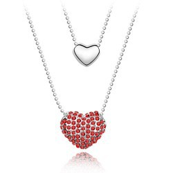 WONDERFUL XmasGIFT TO YOUR HONEY  GRACEFUL LEAD TIN ALLOY PLATED TRUE LOVE SERIES CRYSTAL PENDANT