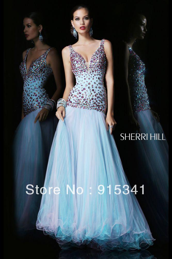 Blue organza riched beaded 2012 mermaid trumpet style prom dress jpg